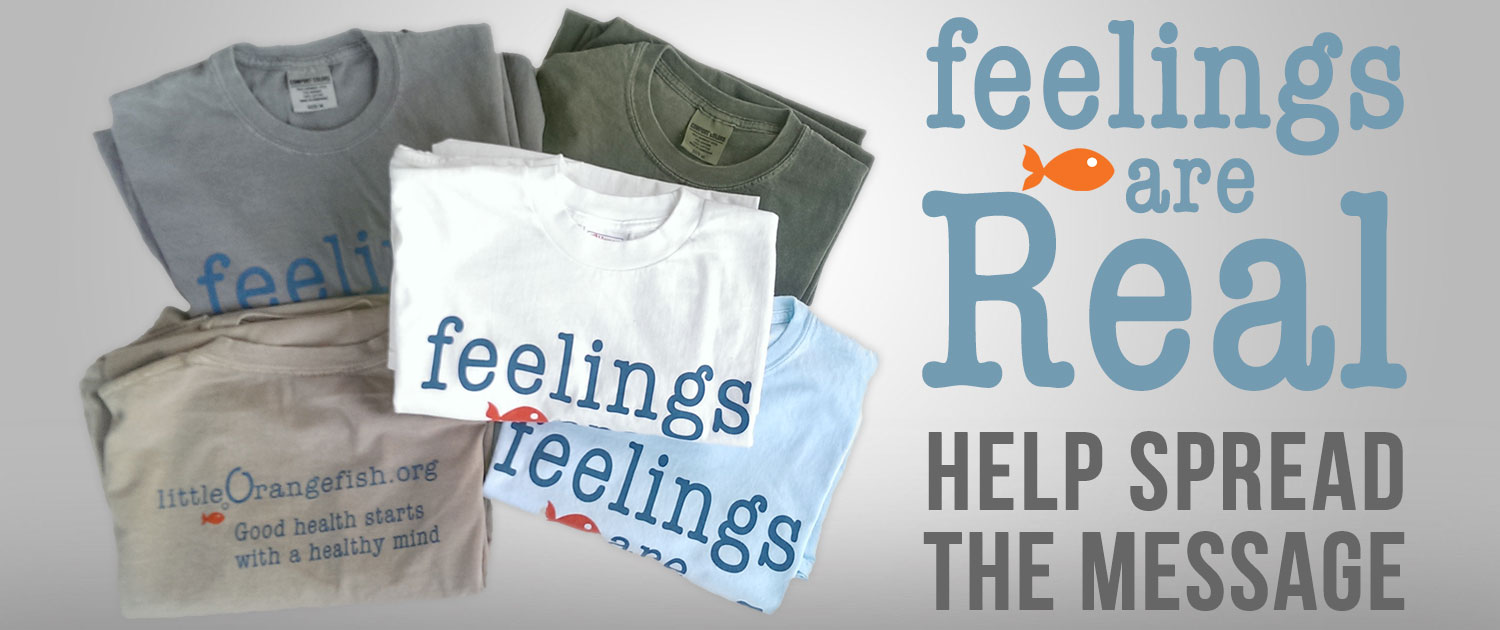 Little Orange Fish feelings are Real t-shirts